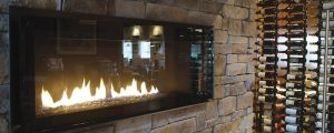 Stone Fireplace in winery