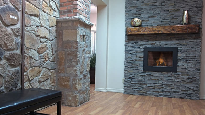 Interior Stone Veneer Products : Stone veneer fireplace design ideas